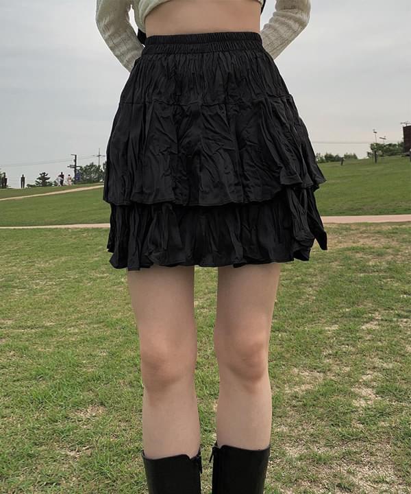 satin cancan wrinkled skirt