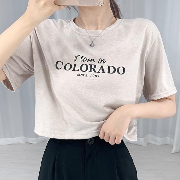 Colorado Crop Lettering Short Sleeve Tee