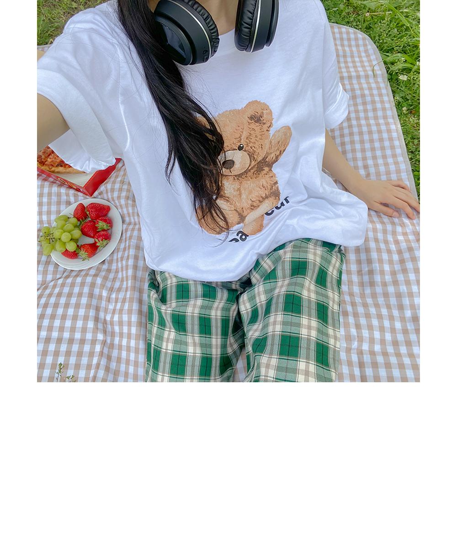 Big Size One Bear Round Cotton T-shirt