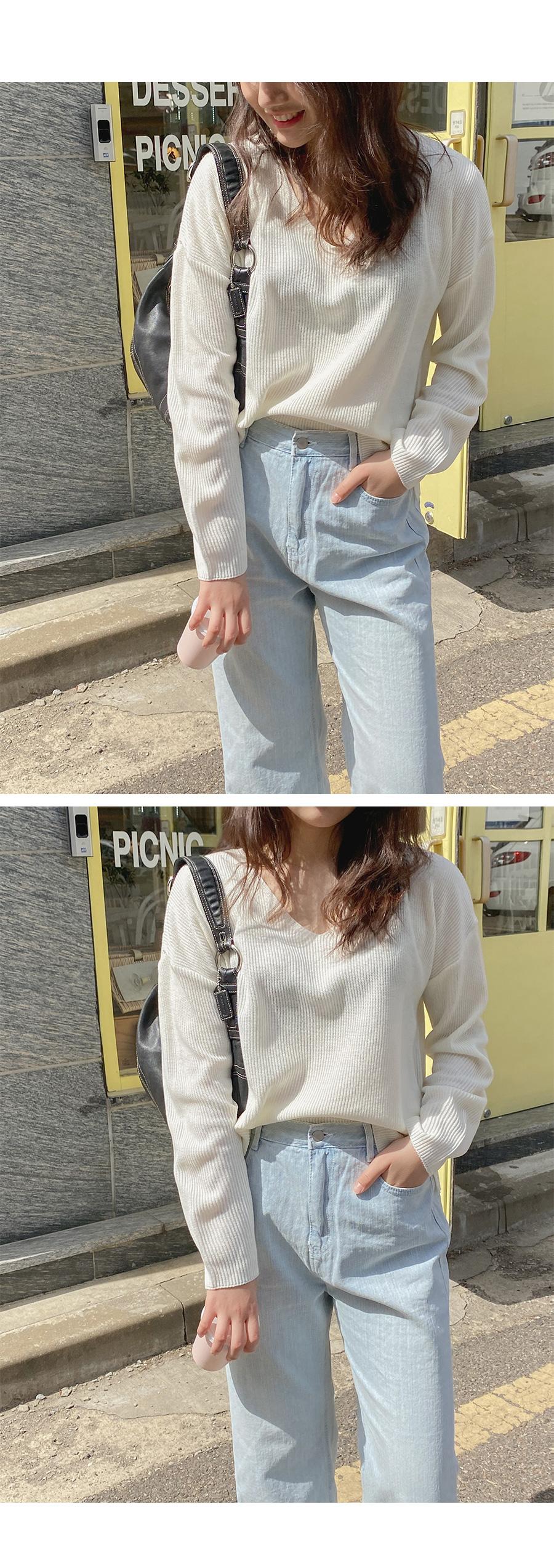 Big Size 55-99 Closing V-Neck Overfit Knitwear