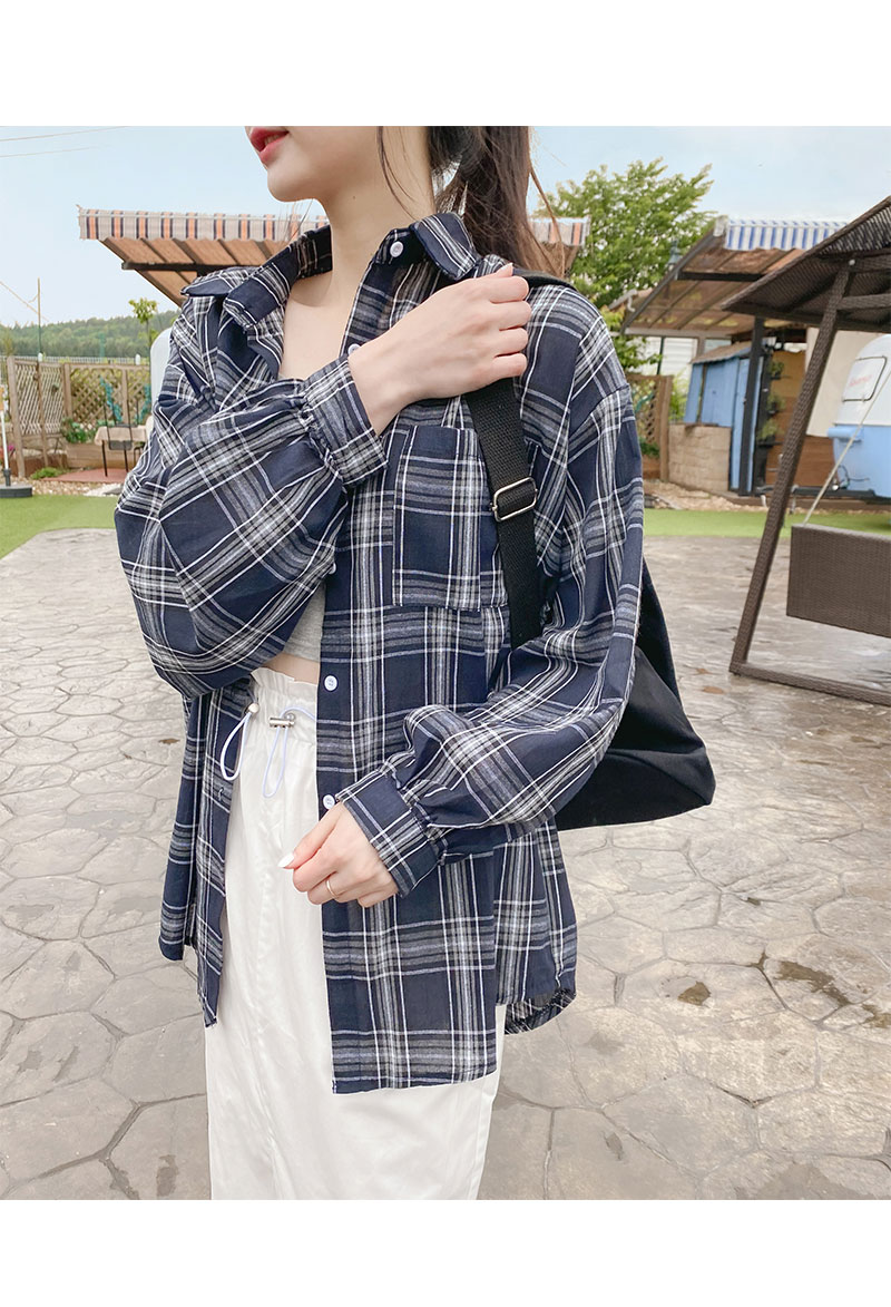 Big Size 55-99 Camping Overfit Check Shirt