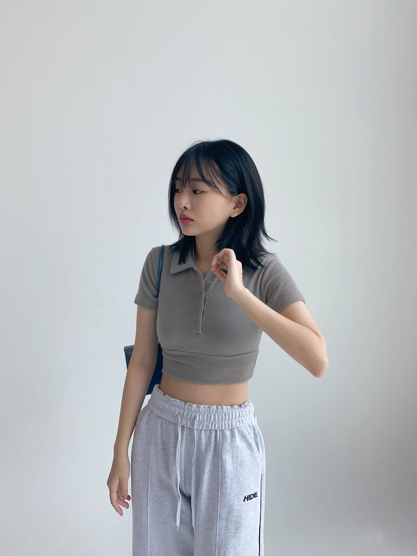 Hide Collar Button Top Hide Cut Sweatpants (White Melange)