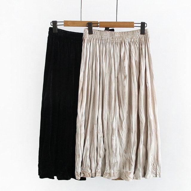 Velor Pleated Midi Long Banding Skirt Big Size 2XL-4XL 28-40 Inch