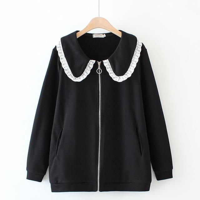 Black Lace Round Collar Zip Up Jacket Big Size XL-3XL 77-120