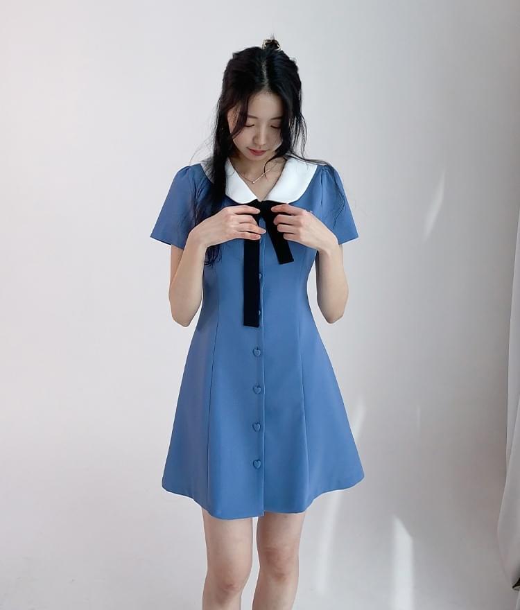 HEART CLUBContrast Collar Button-Front Dress
