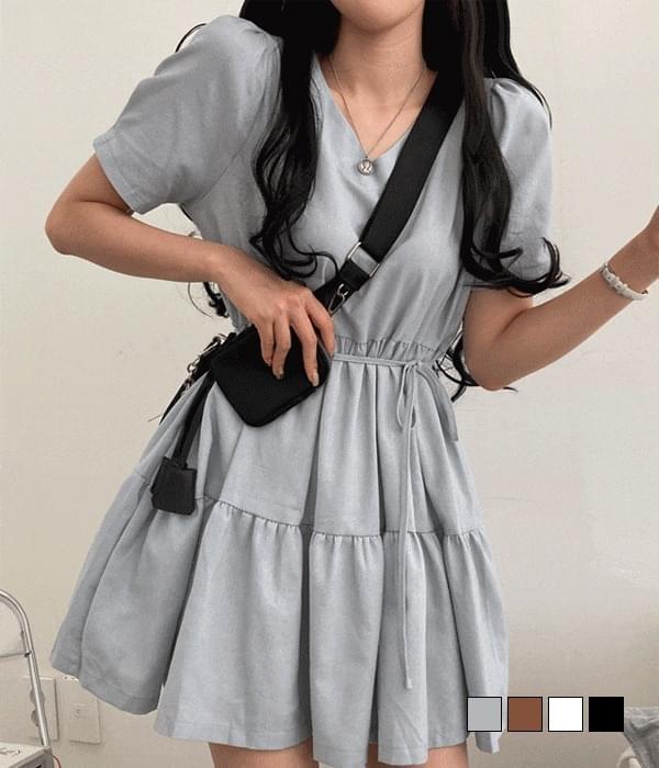 Creamy V-Neck cancan mini Dress 迷你短洋裝