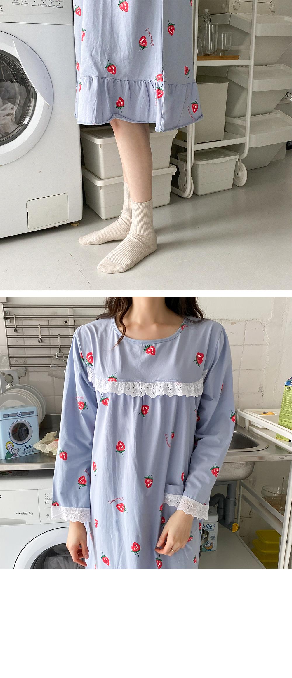 Big Size 55-99 Bleed Lace Pajama Dress