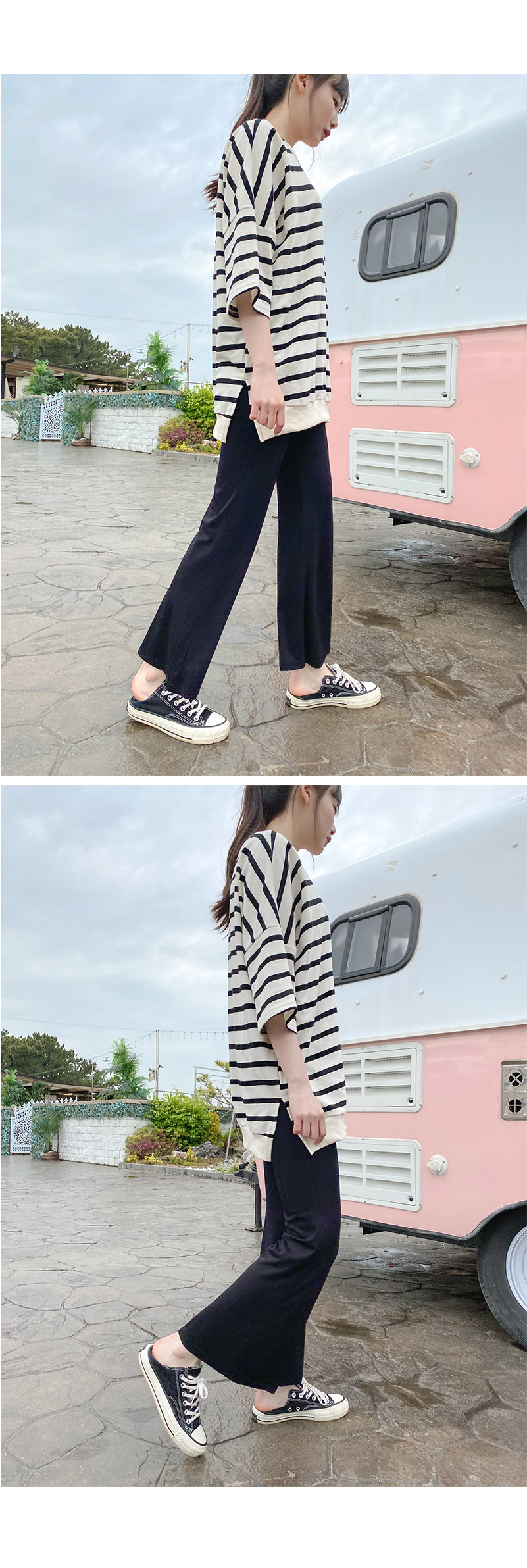 French Silky banding Flared pants