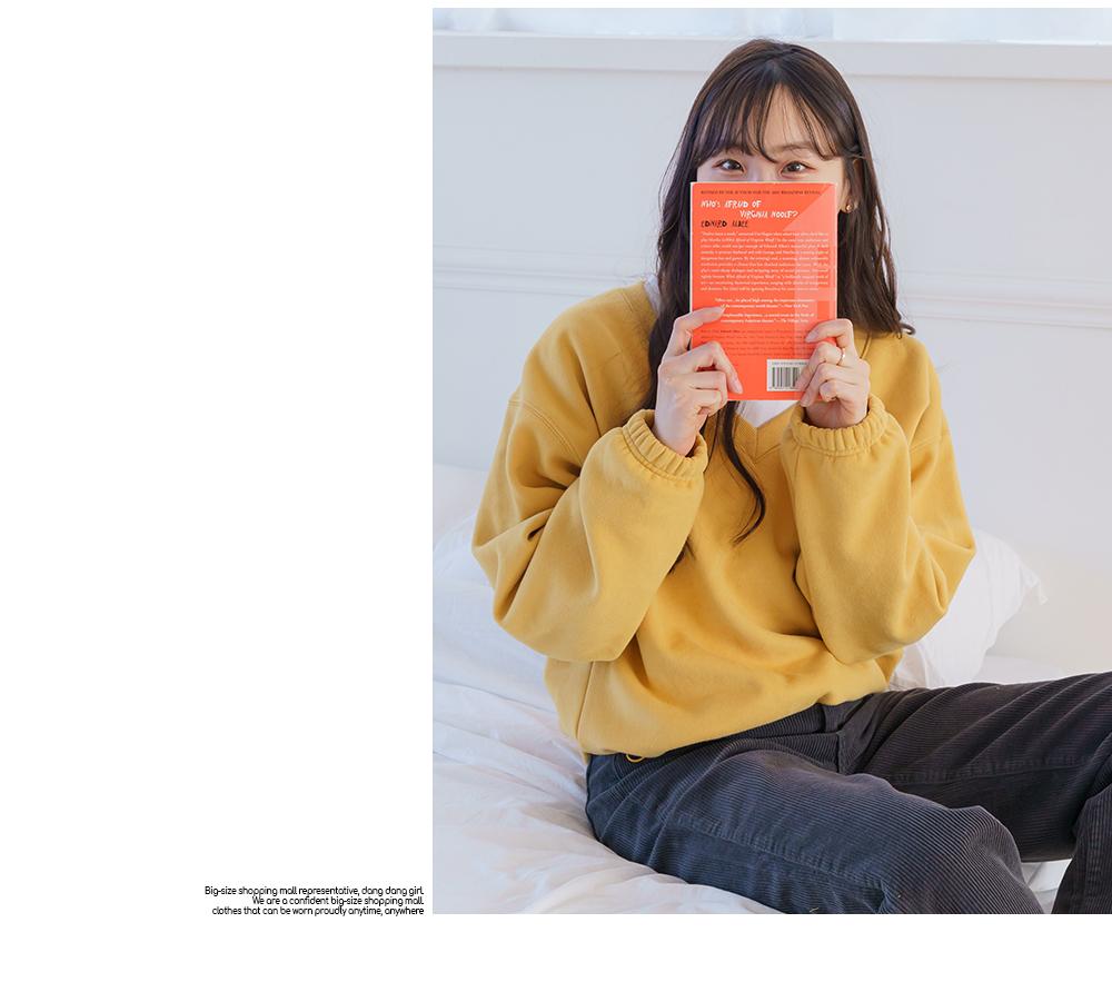 Big size 55-99 Sweatshirt pit string V-Neck Fleece-lined Boxy-fit
