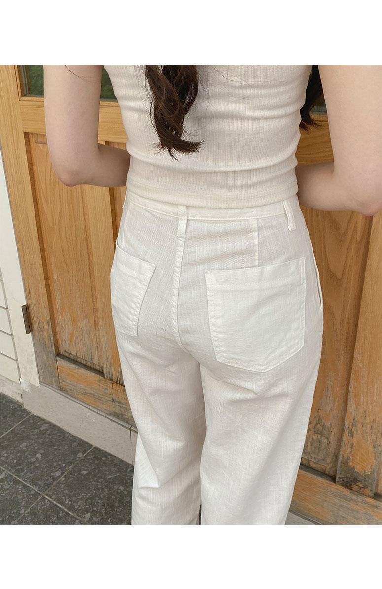Big Size 26-38 Inch Bagel Linen Pintuck Wide Pants