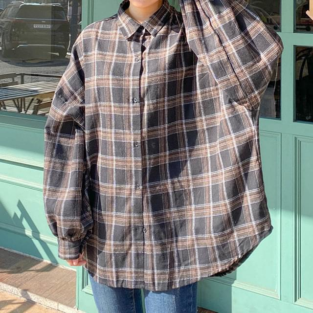 Big Size 66-120 Die Check Loose-fit Shirt