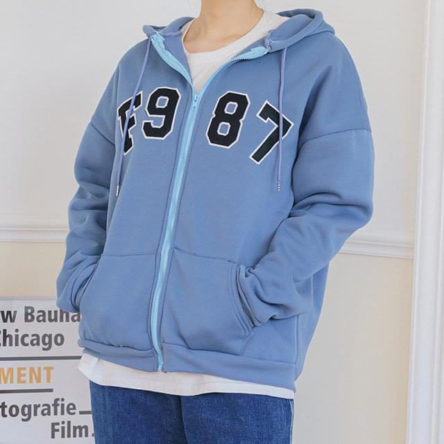 Big Size 55-120 Flonen Over Fit Fleece-lined Hood Zip Up