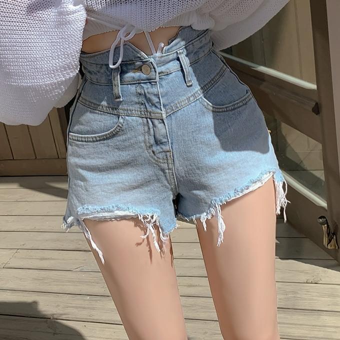 Unikey High Hem Frayed Short Pants Shorts