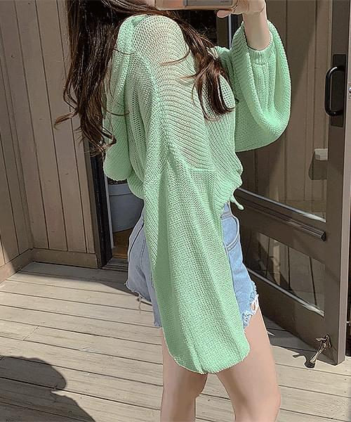 Pure Mood See-through String Balloon Stingray Fit Crop Hooded Knitwear T-shirt