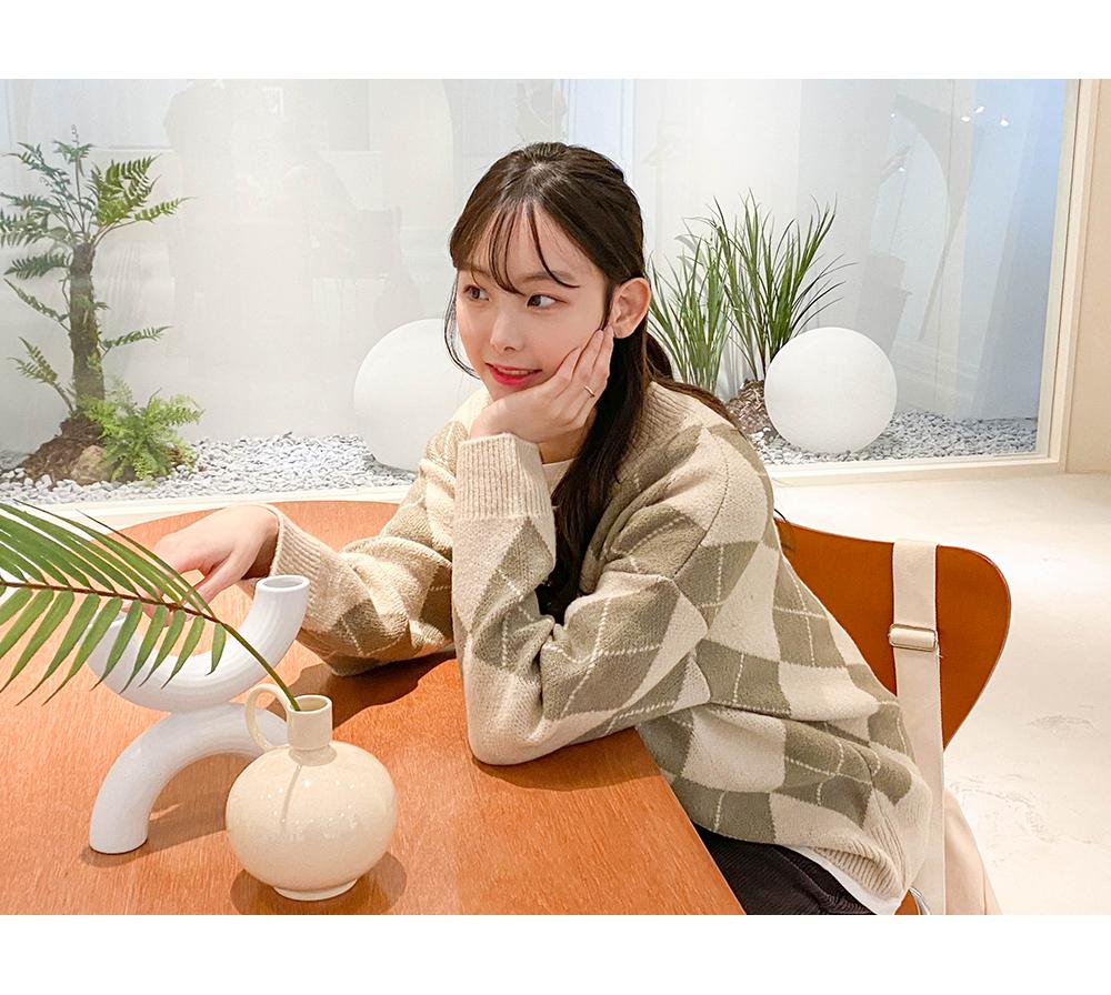 Big Size 55-88 Butter Argyle Loose-fit Fit V Knitwear
