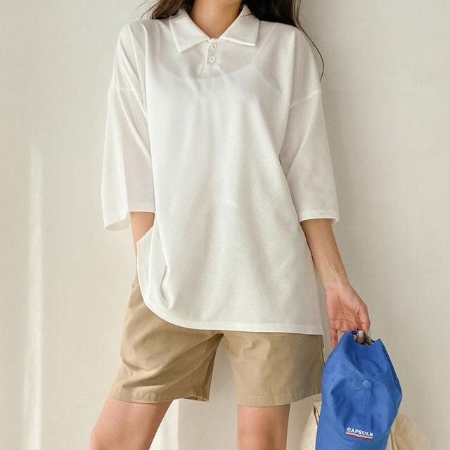Unopened Double Button Collar Box T-shirt Big Size Bust 128
