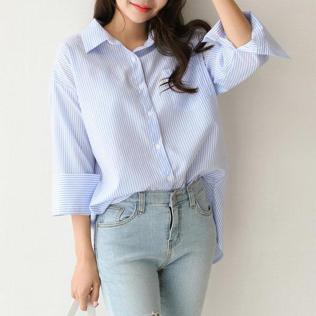 Back Button Stripe Loose-fit Collar Shirt Shirt Big Size Bust 112