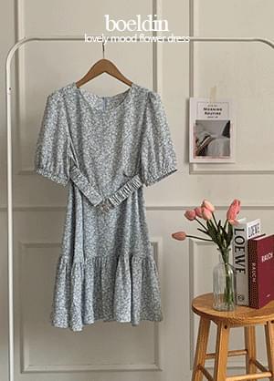 Boeldin Flower Banding Belt Ruffle Mini Dress
