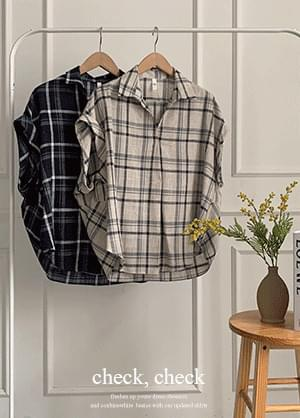 Chendirin check stingray fit blouse