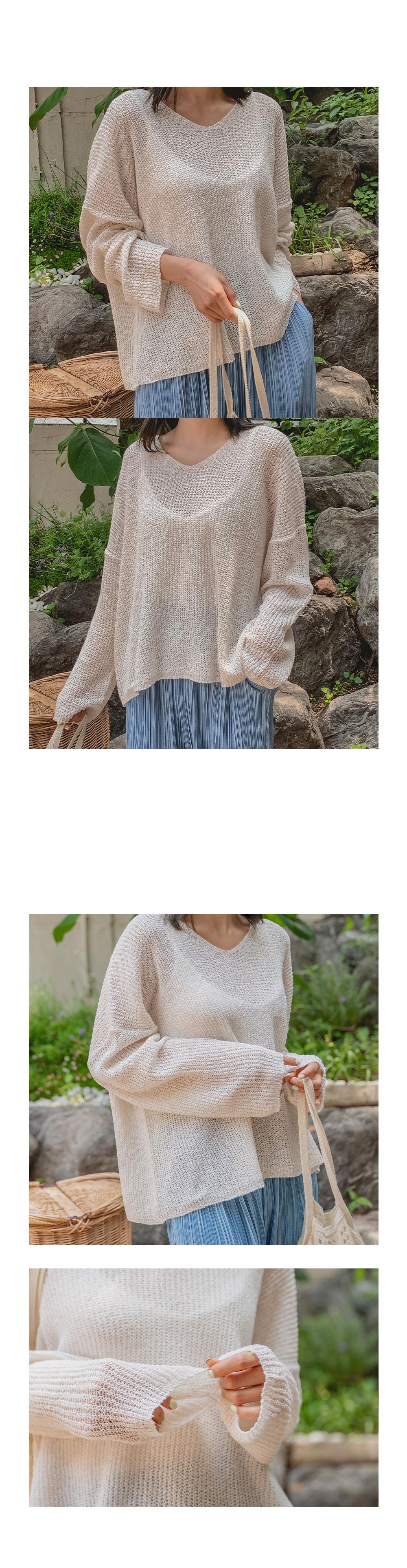 Summer Bookle Linen V-Neck Knitwear