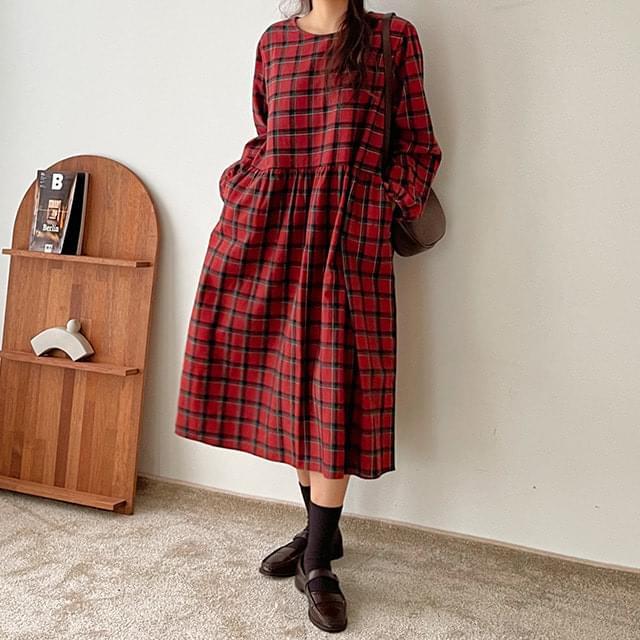 Big Size 55-120 Pole Check Long Dress