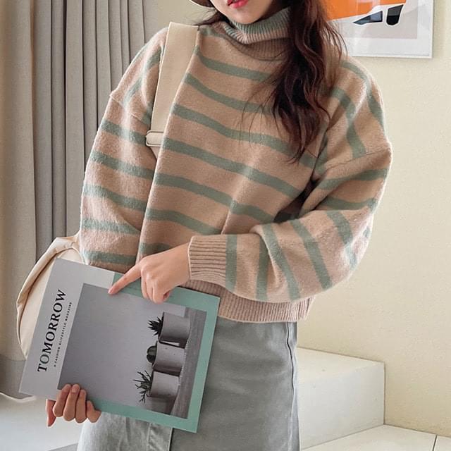 Big Size 55-99 Pomy Striped Turtleneck Crop Knitwear
