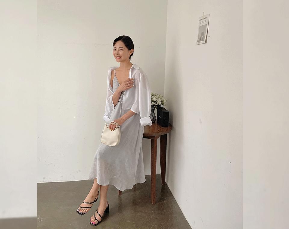 Deerplan Check Shirring Bustier Long Dress