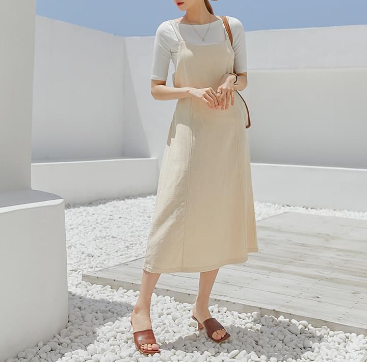 Tie Waist Long Sleeveless Dress
