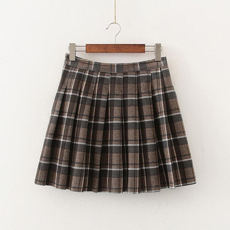 Modern Wool Check Tennis Skirt