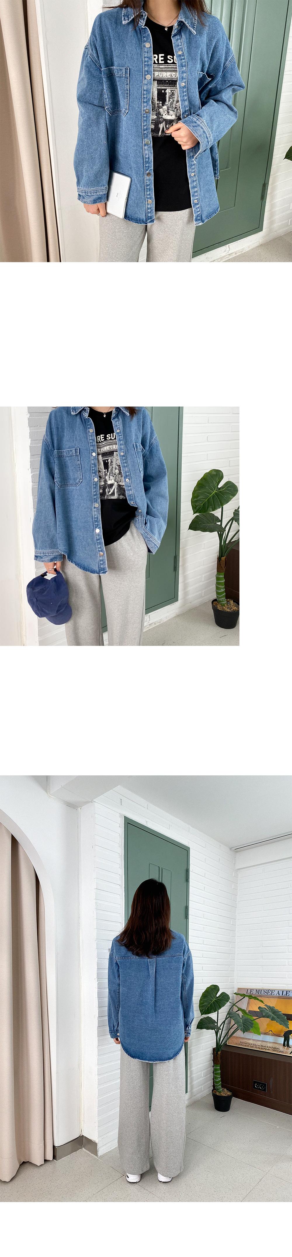 Big Size 55-99 Soda Loose-fit Fit Denim Shirt