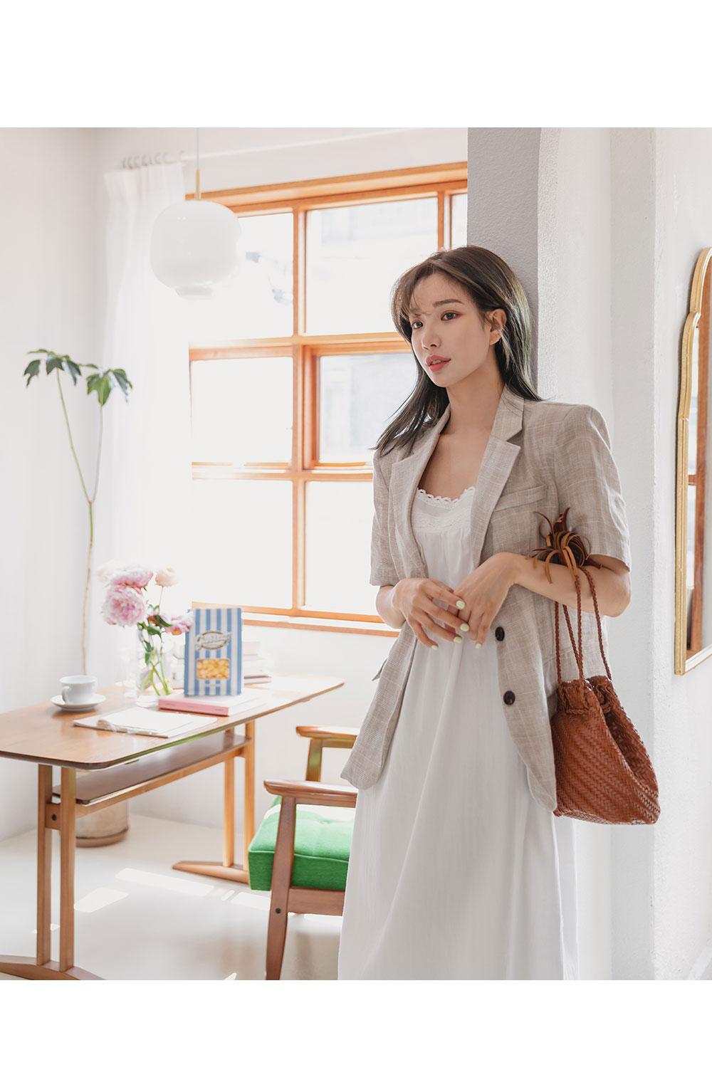 Monet Check Linen Short Sleeve Jacket