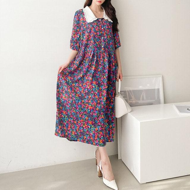 Colorful Flower Lace Collar Flare Long Dress Big Size XL-2XL 77-120