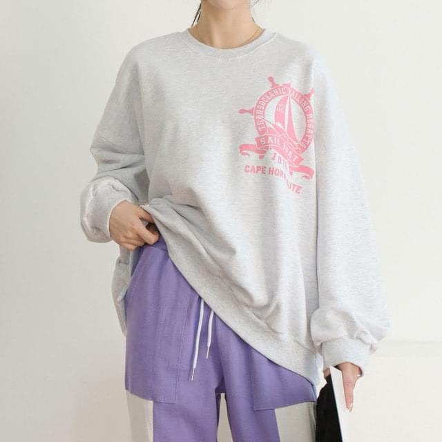 Sailor Print Overfit Sweatshirt