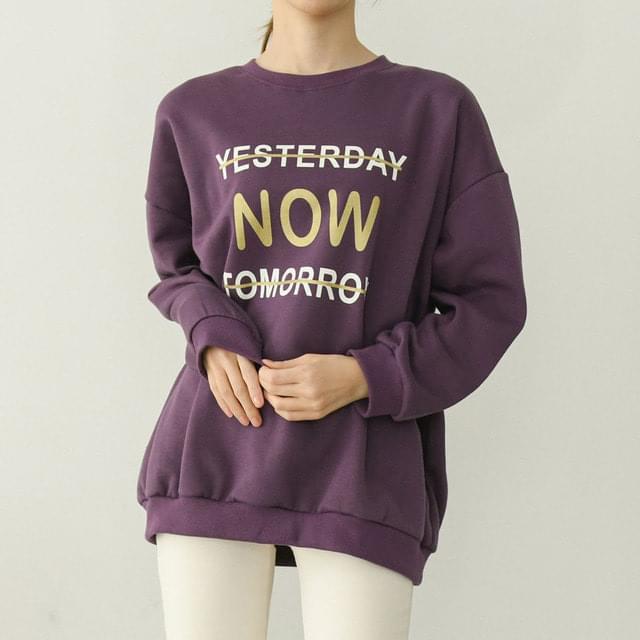 Golden Lettering Fleece-lined Sweatshirt