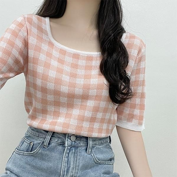 Refreshing color, check square knitwear short sleeves