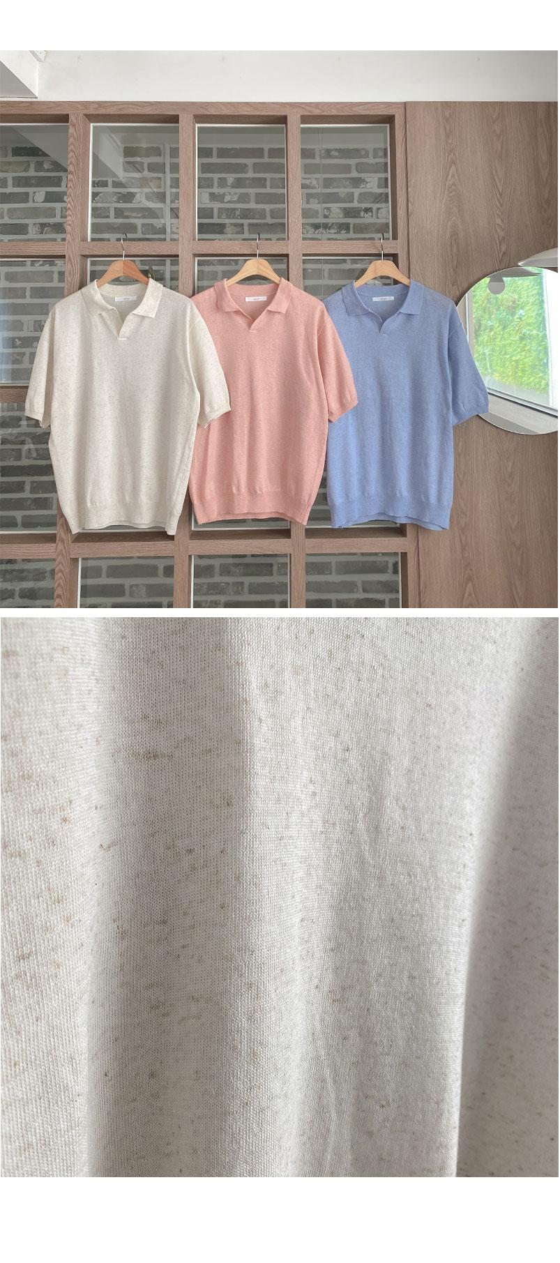 Big Size 55-99 Stone Linen Collar Knitwear