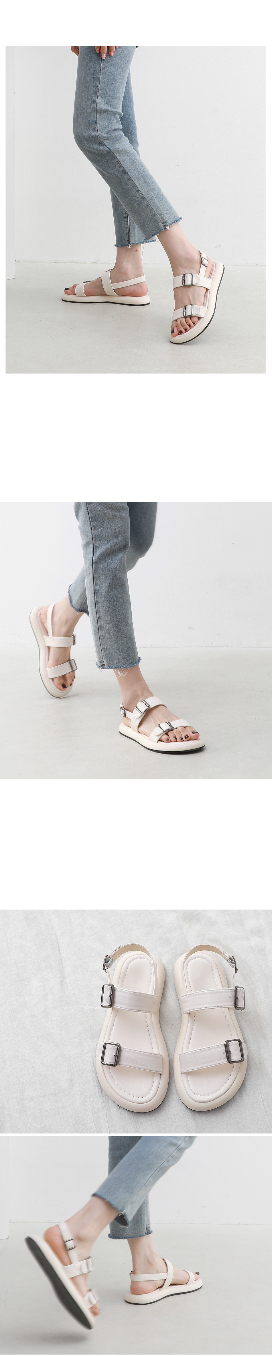 Round Oversole Double Buckle Strap Sling Bag Whole Heel Sandals 11006
