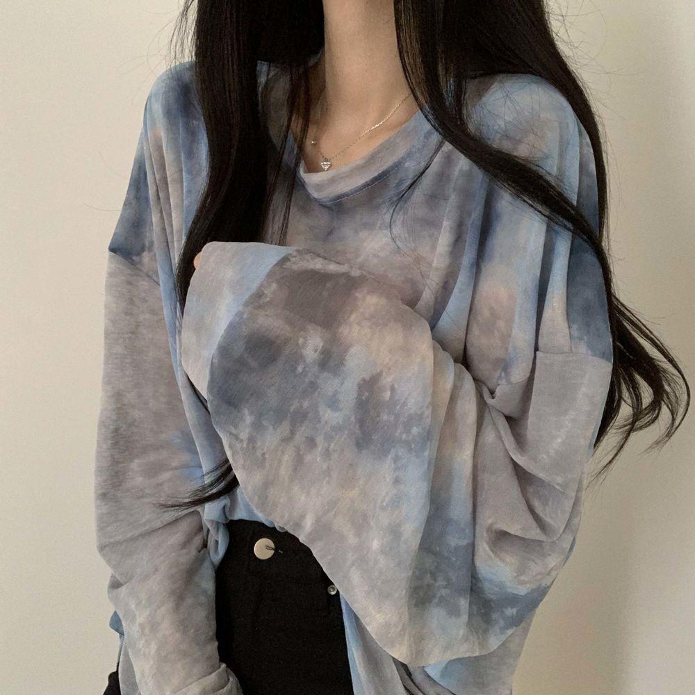 Cool summer water print long sleeve T