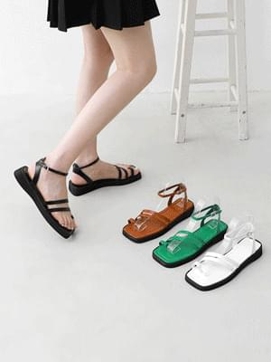 Toe Post Double Diagonal Strap Whole Heel Sandals 9139