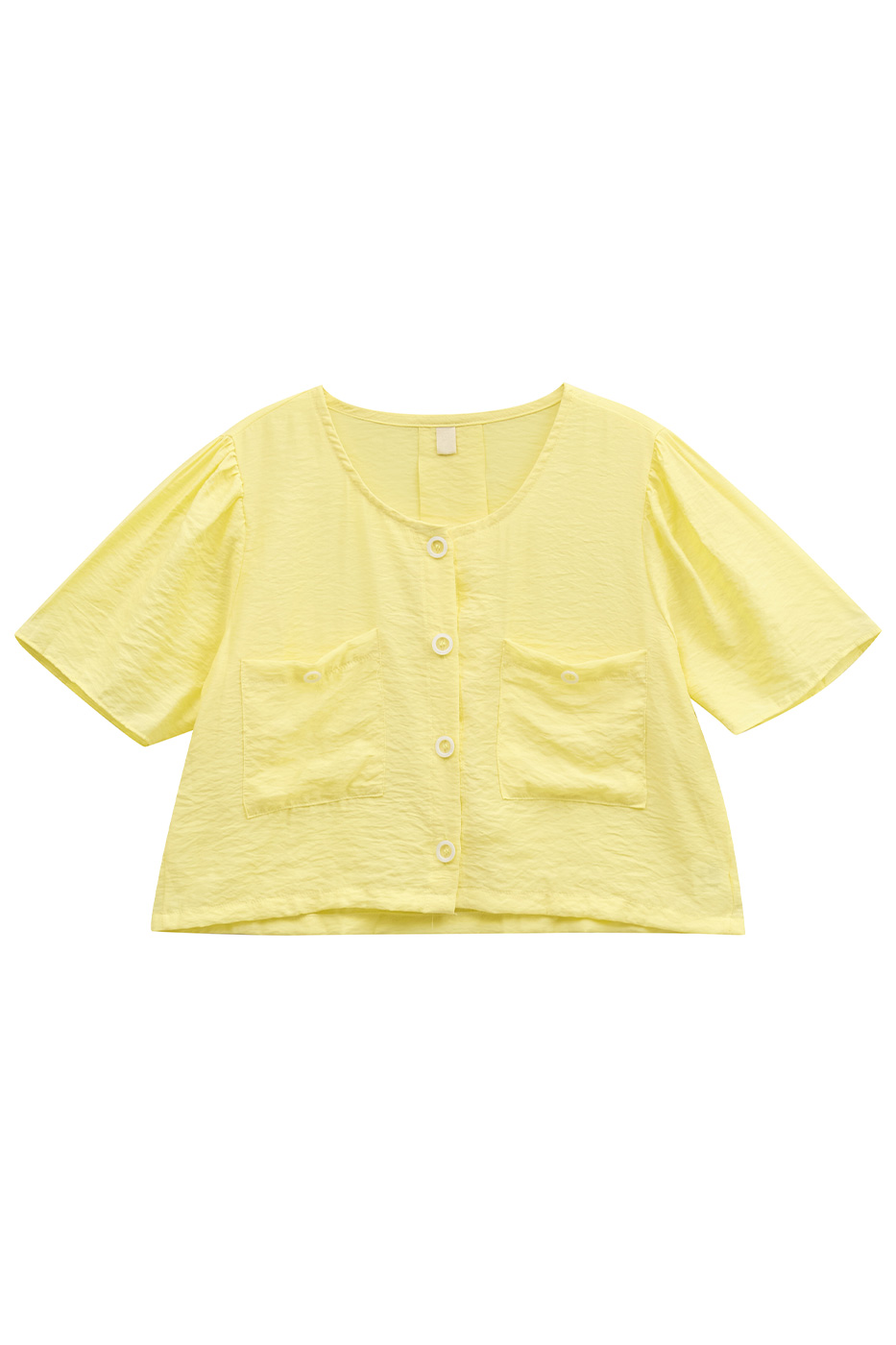 live round neck buttoned blouse