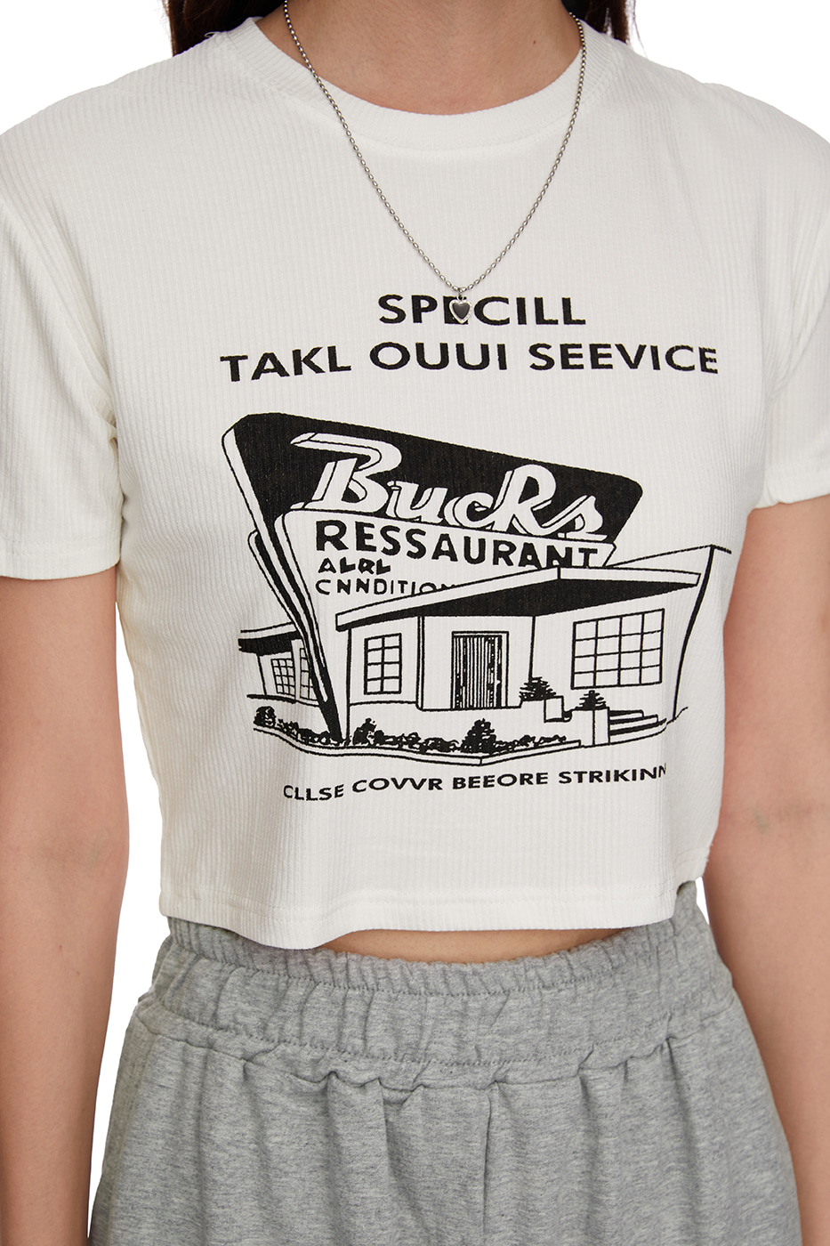 house print cropped T-shirt
