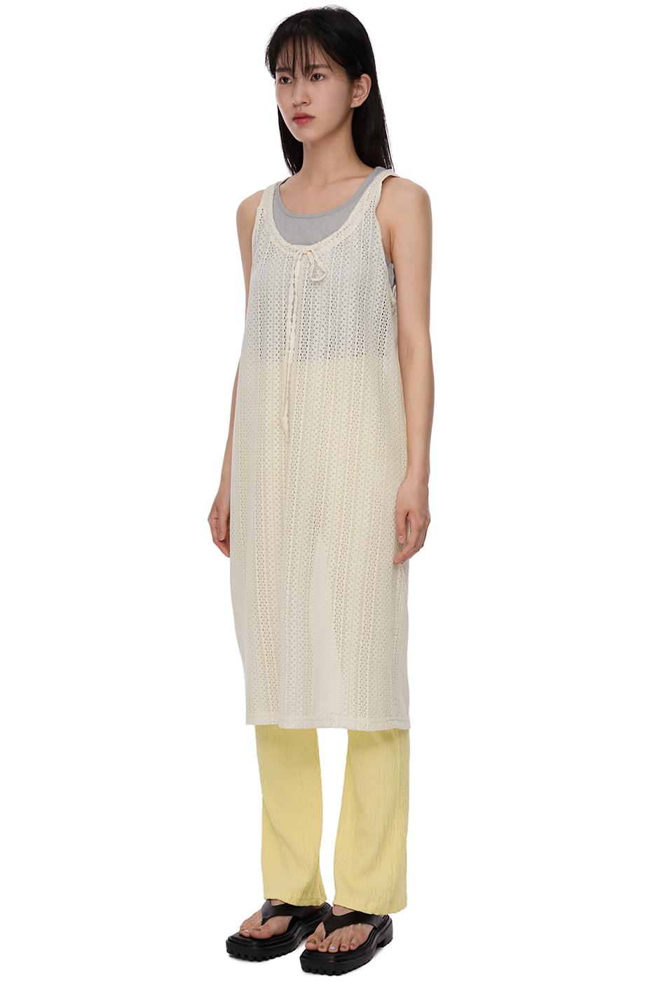 Layered Knitwear String Mid-Length Dress