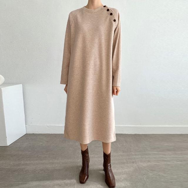 Big Size 55-77 Button Side Knitwear Long Dress