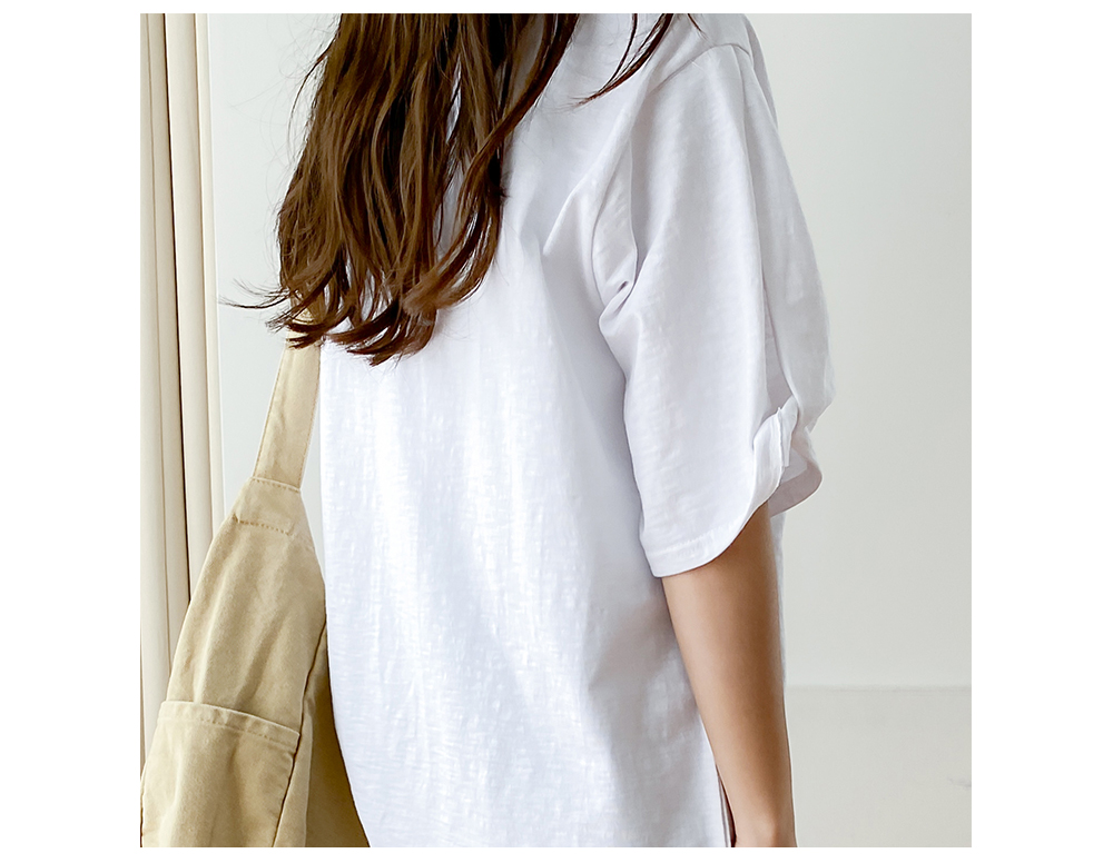 Split Sleeve Roll-Up Cotton Round Neck T-shirt Big Size XL-2XL 77-120