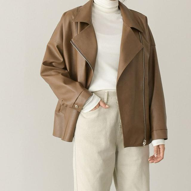 wide collar leather jacket