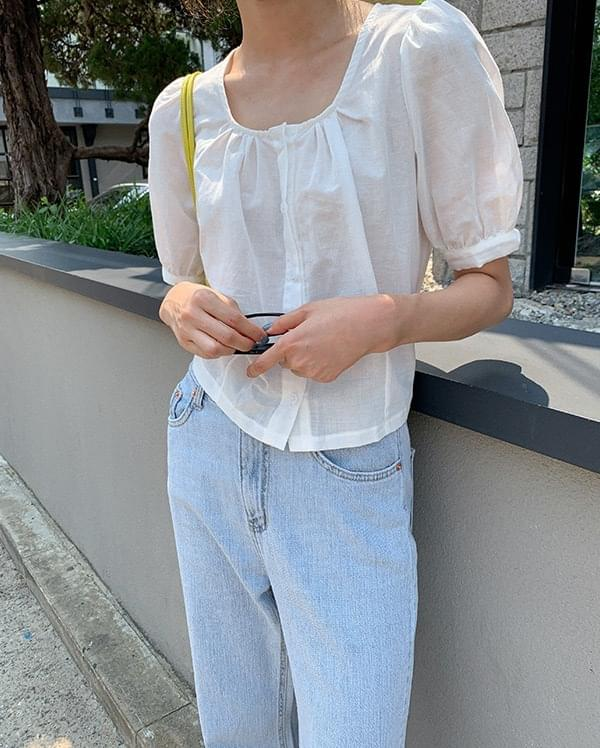 pie linen shirring blouse