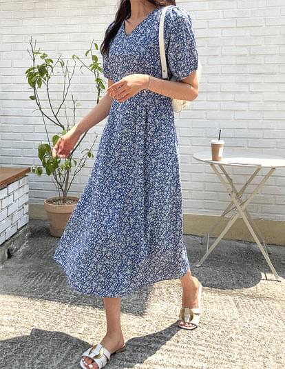 韓國空運 - Tenni Flower Pintuck Dress 及膝洋裝
