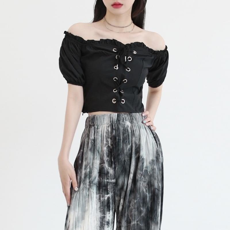 Millie off-the-shoulder cropped blouse