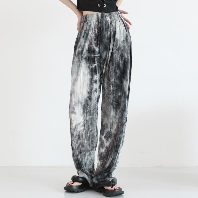 catch tie-dye pleated trousers