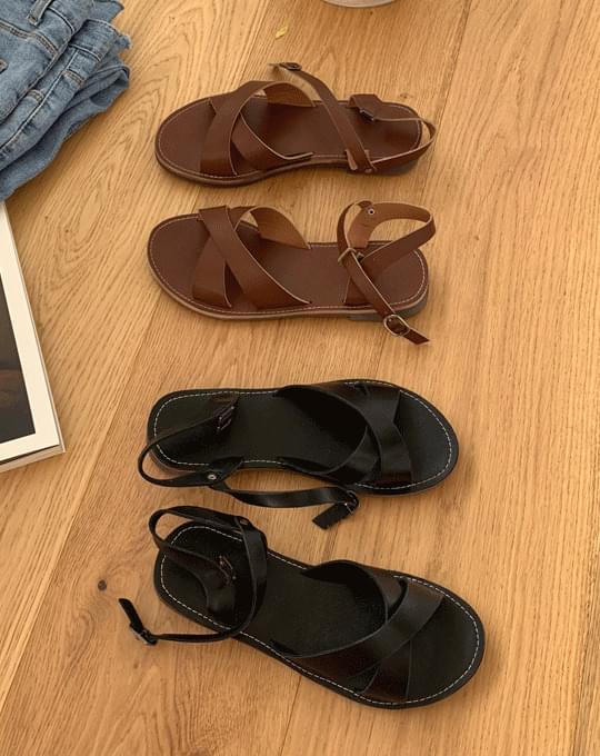Soun Cross Strap Sandals - 2 color